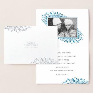 冬のフロストのメリークリスマスの写真 箔カード