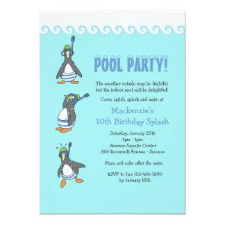 冬のプールのパーティの招待状 カード