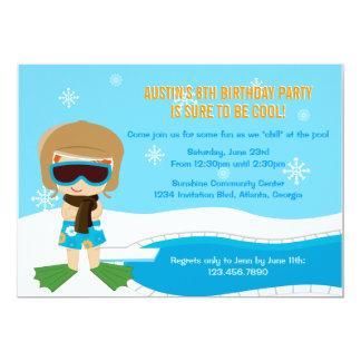 冬のプールを囲んでのパーティの招待 カード
