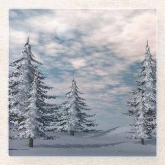 冬のモミの木の景色 ガラスコースター