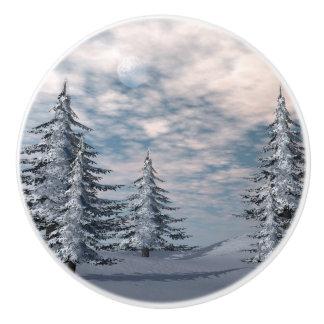 冬のモミの木の景色 セラミックノブ