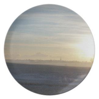 冬のヨークシャの景色のプレート プレート