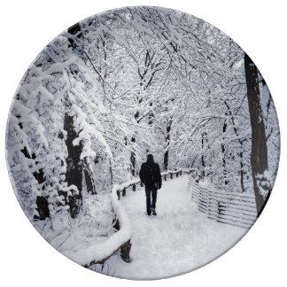 冬の不思議の国で歩くこと 磁器プレート