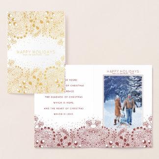 冬の不思議の国のクリスマスおよび休日の写真 箔カード