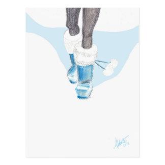 冬の不思議の国のブーツ ポストカード