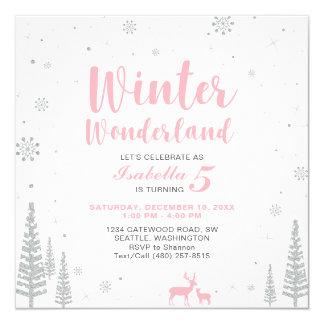 冬の不思議の国の子供の誕生日の招待状-女の子 カード