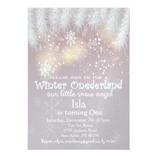 冬の不思議の国の第1誕生日の招待状 カード