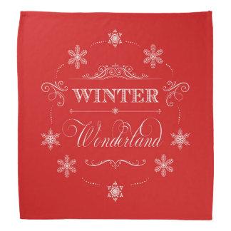 冬の不思議の国の赤と白のクリスマスの雪 バンダナ