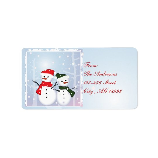 冬の不思議の国の雪だるま私達の初めてのクリスマス 宛名ラベル