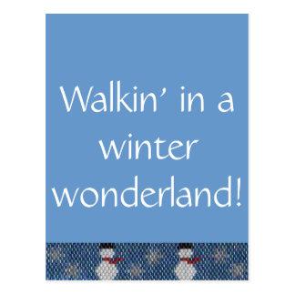 冬の不思議の国のWalkin! ビーズのボーダー ポストカード