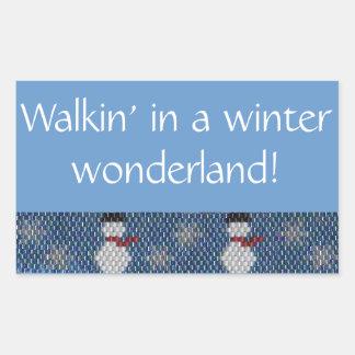 冬の不思議の国のWalkin! ビーズのボーダー 長方形シール