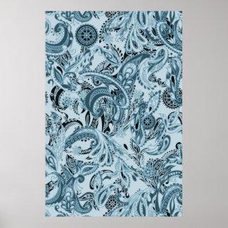 冬の伝統的なペーズリー花の青いパターン ポスター