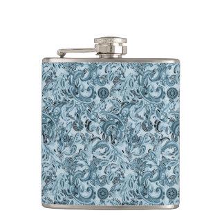 冬の伝統的なペーズリー花の青いパターンDIY フラスク