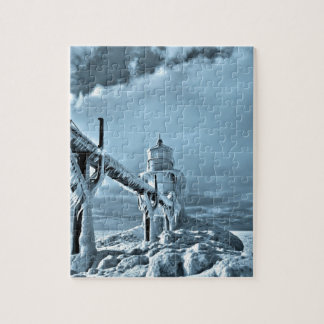 冬の凍結する灯台 ジグソーパズル