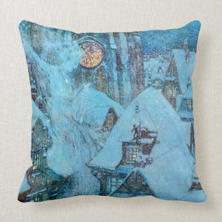 冬の夜Dulacのファインアートの雪の女王 クッション