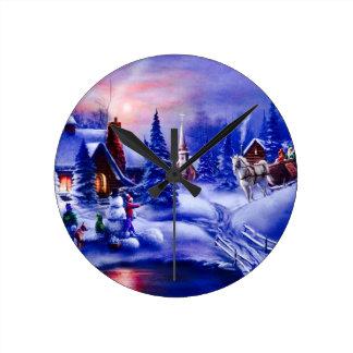 冬の夢の国 ラウンド壁時計