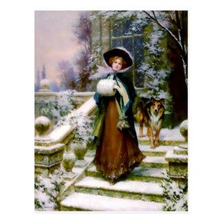 冬の女性のコリー犬ビクトリアンな手のマフ ポストカード