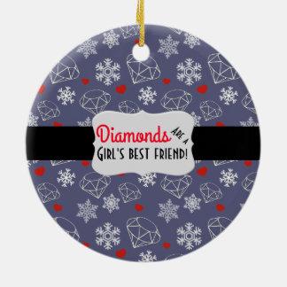 冬の宝石用原石のダイヤモンドおよび雪片 セラミックオーナメント