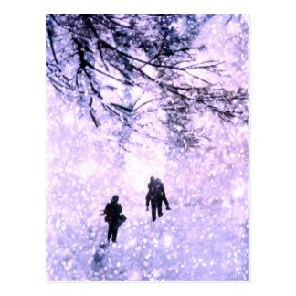 冬の家族 ポストカード