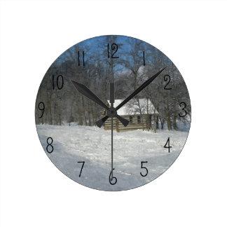 冬の小屋のカスタマイズ可能な時計 ラウンド壁時計