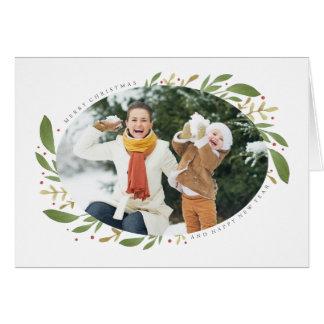 冬の小枝のクリスマスの写真の挨拶状 カード