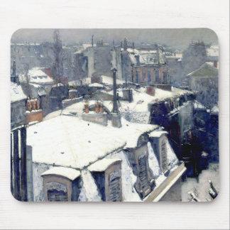 冬の屋上のパリのマウスパッド マウスパッド