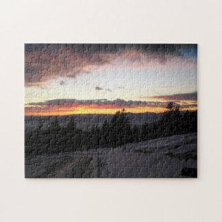 冬の山の日没 ジグソーパズル