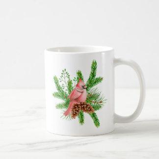 冬の常緑樹の赤い(鳥)ショウジョウコウカンチョウ コーヒーマグカップ