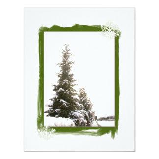 冬の常緑樹DIY 10.8 X 14 インビテーションカード
