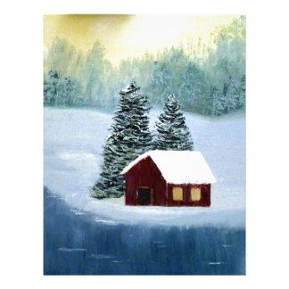 冬の平和によって凍っていられている氷の雪の川の木の景色 レターヘッド