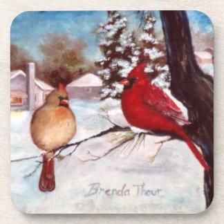 冬の平静の(鳥)ショウジョウコウカンチョウのコースター コースター