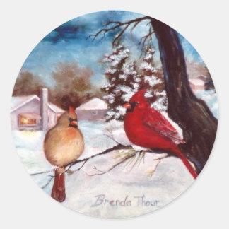 冬の平静の(鳥)ショウジョウコウカンチョウのステッカー ラウンドシール