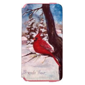 冬の平静の(鳥)ショウジョウコウカンチョウ iPhone 6/6Sウォレットケース