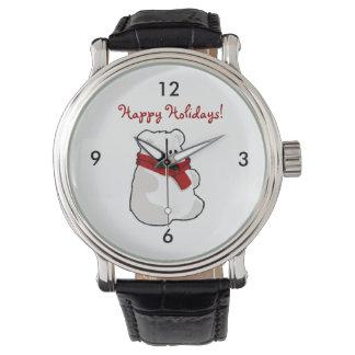 冬の幸せな休日の白くまの漫画 腕時計