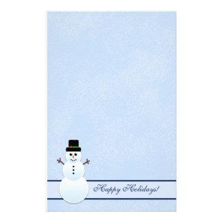 冬の幸せな休日の雪だるまの文房具 便箋