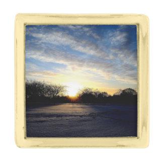 冬の日の出 ゴールド ラペルピン