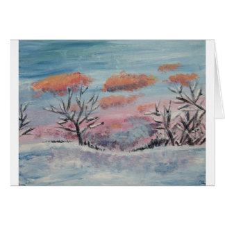 冬の日没によって絵を描かれる空白のな挨拶状 カード