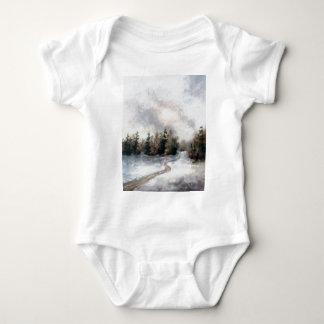 冬の日没の乳児 ベビーボディスーツ