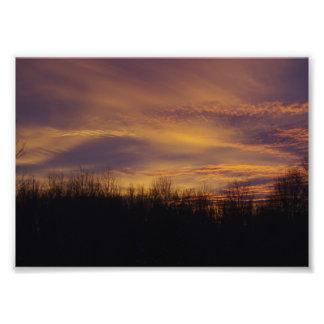 冬の日没 フォトプリント