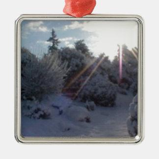 冬の日没 メタルオーナメント