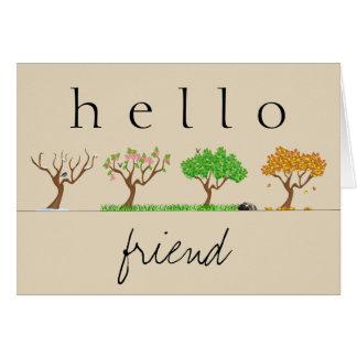 冬の春の夏の秋のこんにちは友人Notecard カード