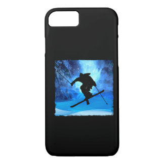 冬の景色およびフリースタイルのスキーヤー iPhone 8/7ケース