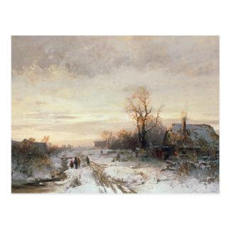 冬の景色で遊んでいる子供 ポストカード