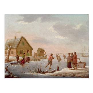 冬の景色のフィギュアスケート ポストカード