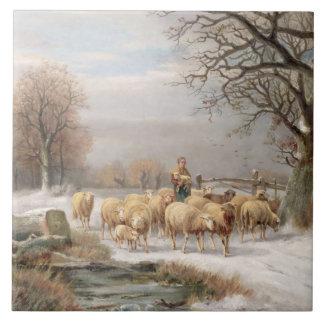 冬の景色の彼女の群を持つShepherdess ( タイル