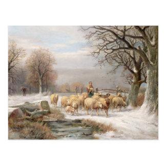冬の景色の彼女の群を持つShepherdess ( ポストカード