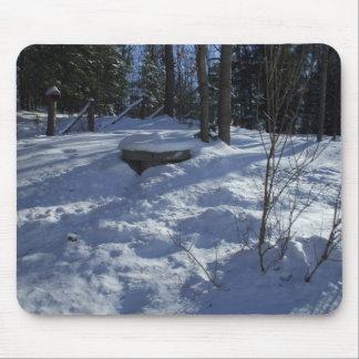 冬の朝の雪場面 マウスパッド