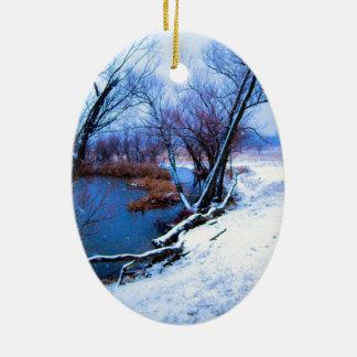 冬の木および池 セラミックオーナメント