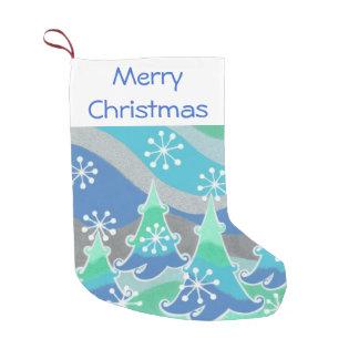 冬の木のメリークリスマスのストッキング スモールクリスマスストッキング