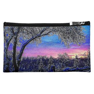 冬の木の印象主義の日の出の景色 コスメティックバッグ